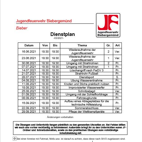 Dienstplan JF 3/2021