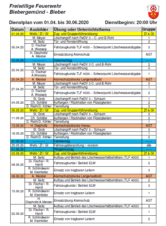 Dienstplan FFB 02/2020