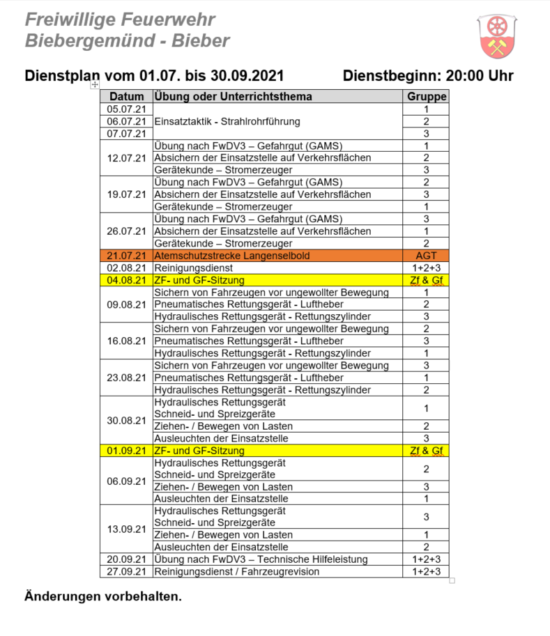 Dienstplan 03/2021