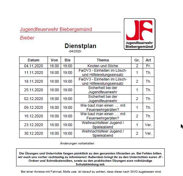 Dienstplan JF 04/2020
