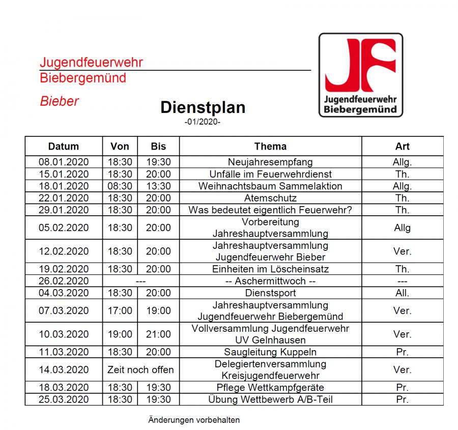 Dienstplan JF 01/2020
