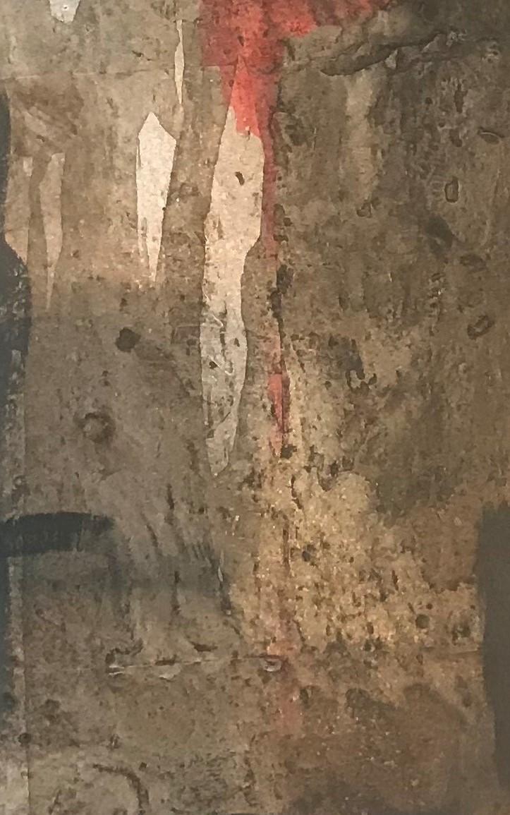 'Rotes Licht im Zauberwald', Acryl-Mischtechnik, 80 cm h x 30 cm b x 3 cm t