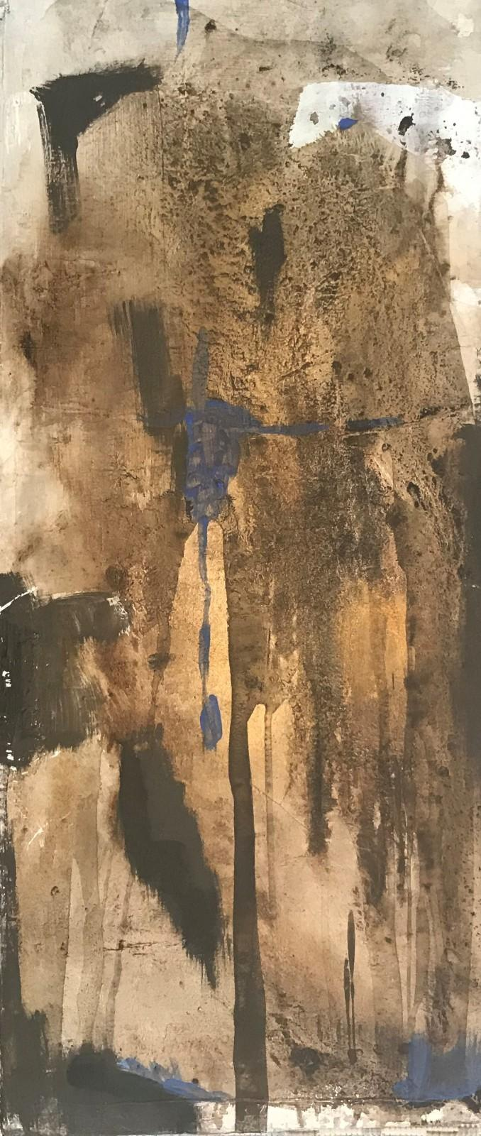 'Blauer Funke', Acryl-Mischtechnik, 80 cm h x 30 cm b x 2 cm t,