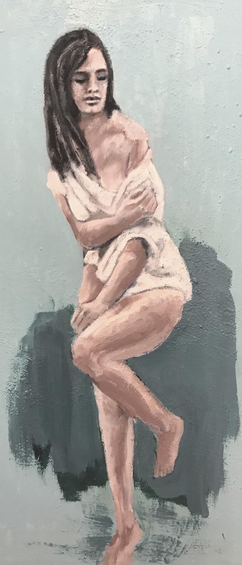 'shyness', Öl auf Leinwand, 80 cm h x 30 cm b x 3 cm t