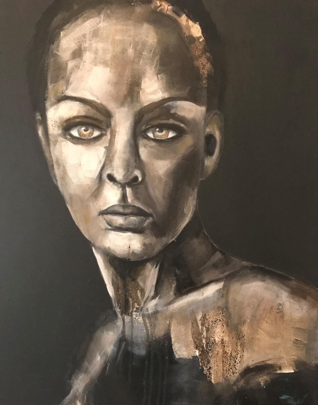 Porträt, 'Aino', Öl-Mischtechnik auf Leinwand, 100 cm h x 80 cm b x 3 cm t