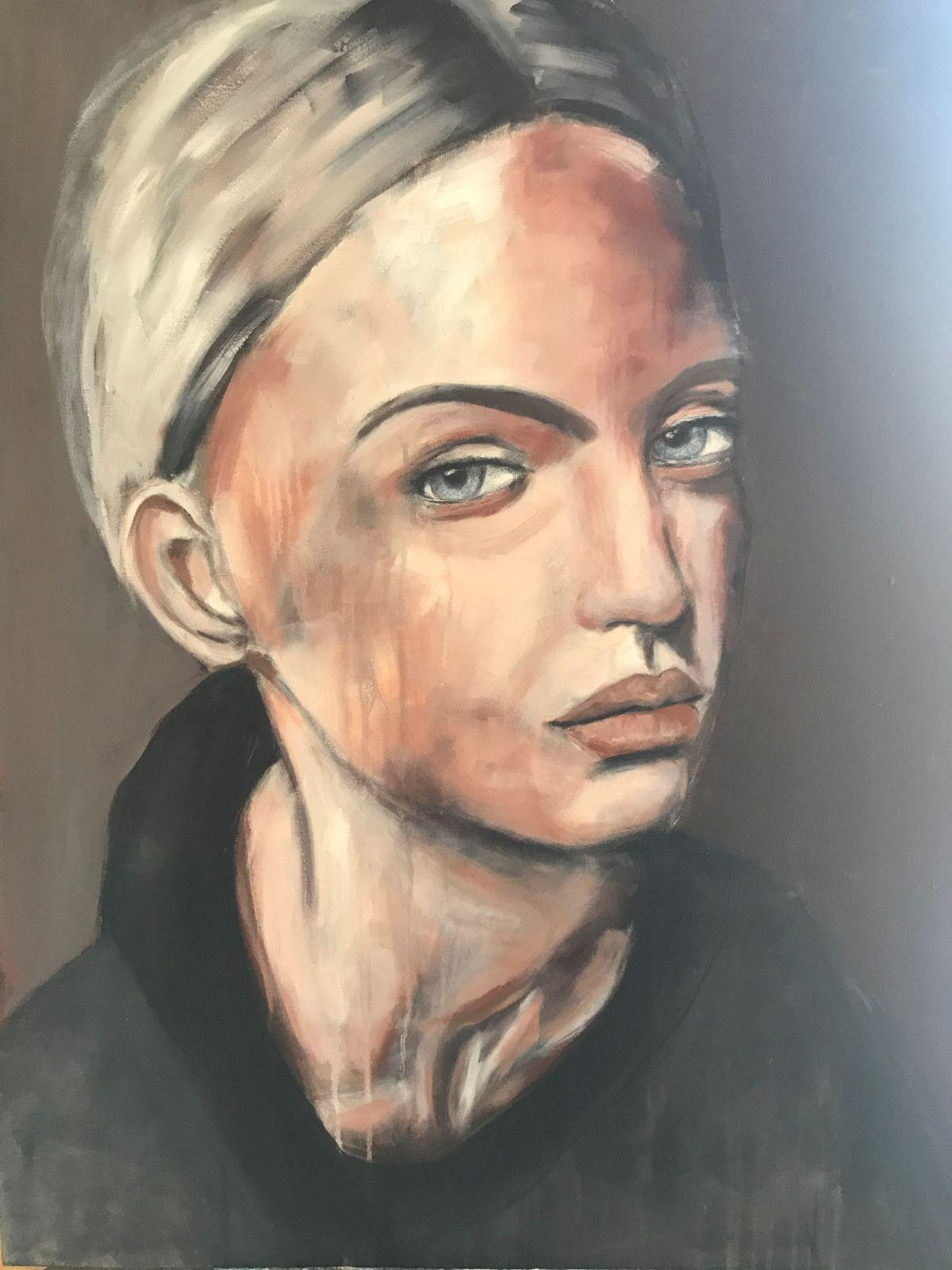 Porträt, 'Joerdis', Öl auf Leinwand, 100 cm h x 80 cm b x 3 cm t