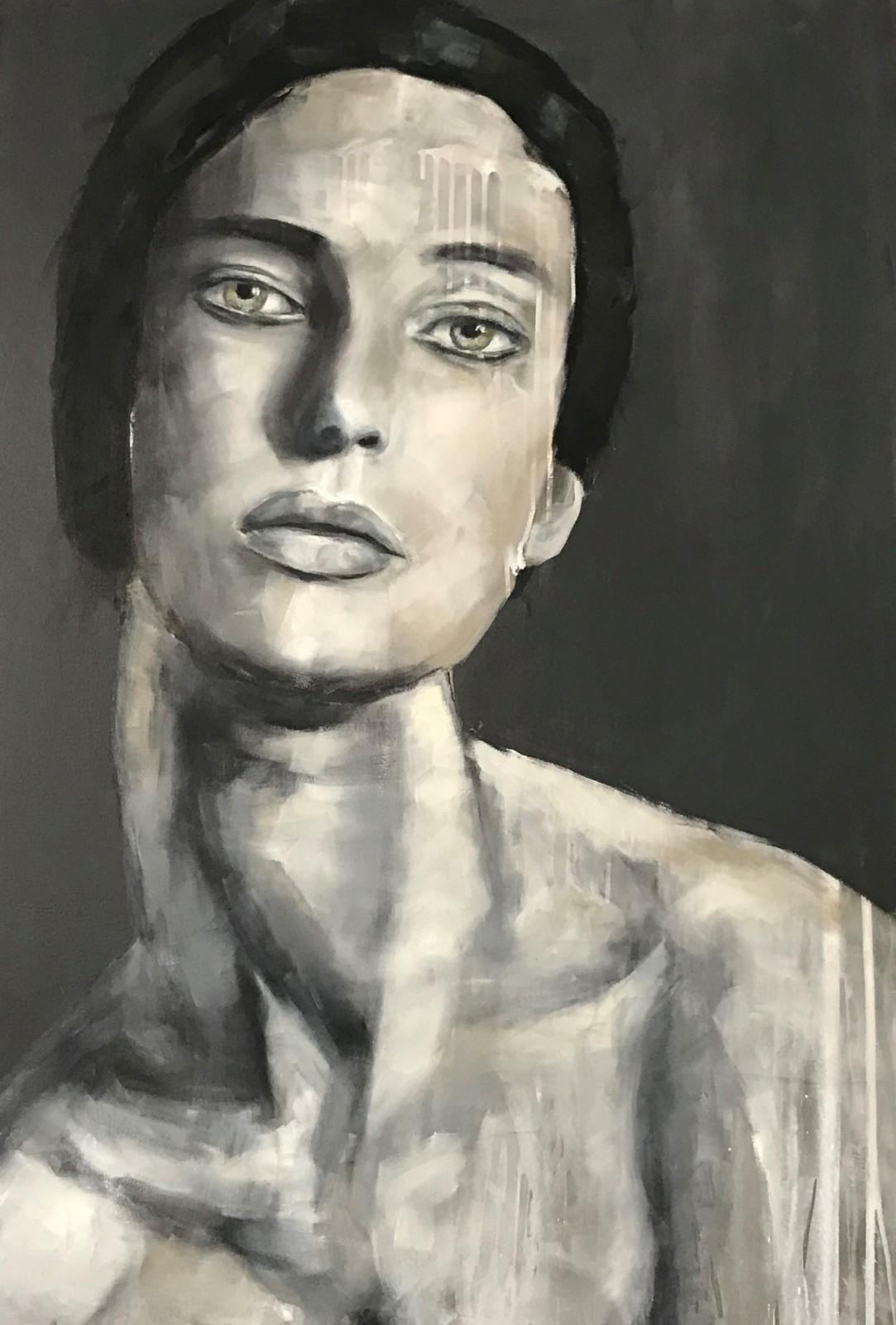 Porträt, 'Lynnea', Öl auf Leinwand, 120 cm h x 80 cm b x 3 cm t