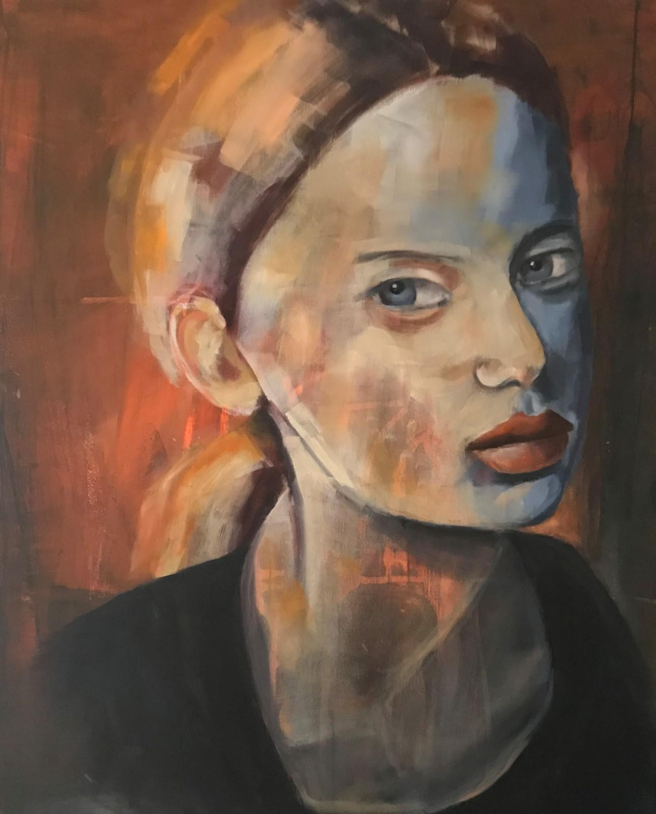 Porträt 'Agnis', Öl auf Leinwand, 100 cm h x 80 cm b x 3 cm t