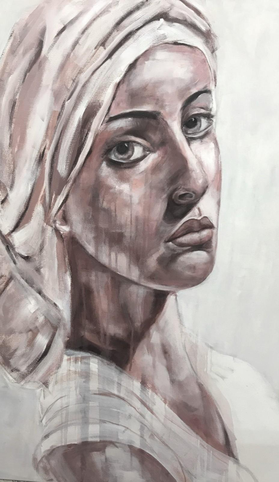 Porträt 'Rhea', Öl auf Leinwand, 120 cm h x 80 cm b x 3 cm t