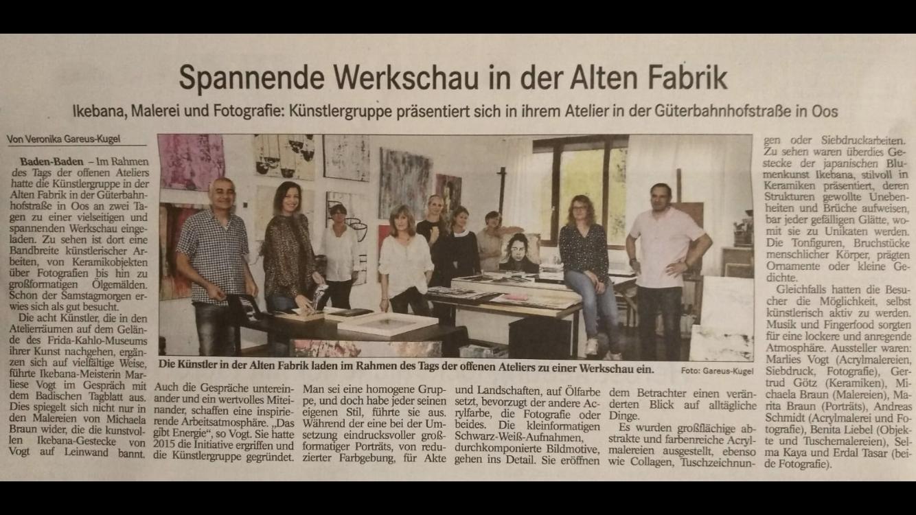 Pressebericht anlässlich des Tages der offenen Ateliers Baden-Baden 2019