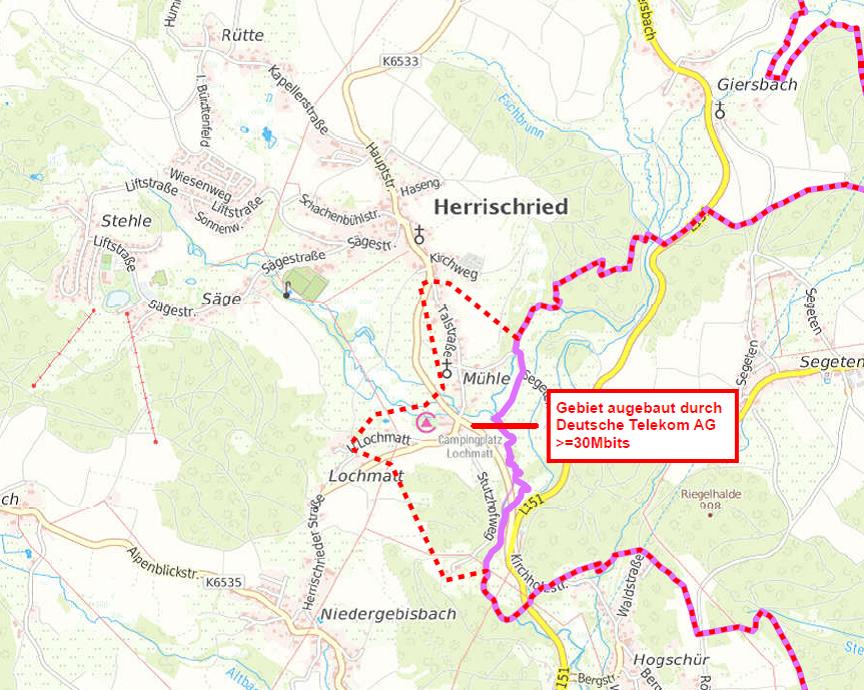 Ausbauplan Telekom Herrischried Ort