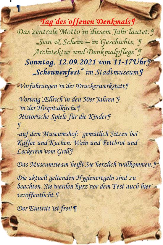 Einladung Scheunenfest 2021