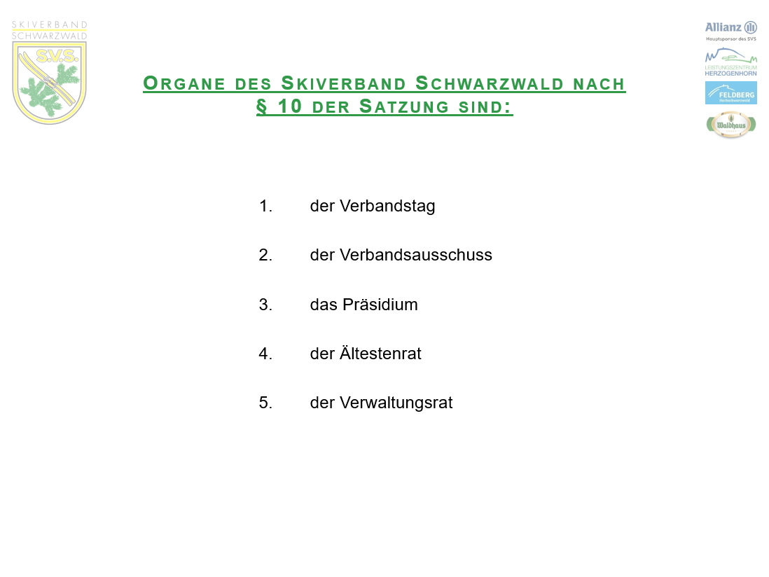 Die Organe des SVS (2)