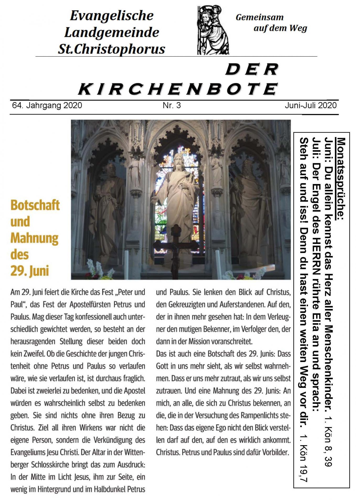 Kirchenbote Juni Juli 2020