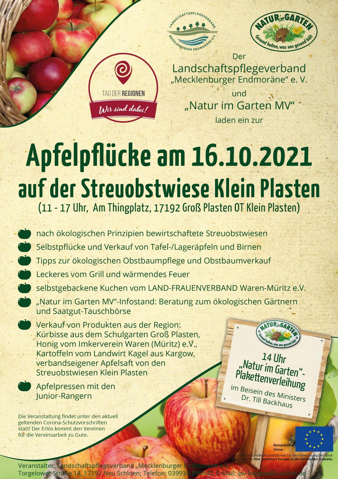 Plakat Apfelpflücke 2021
