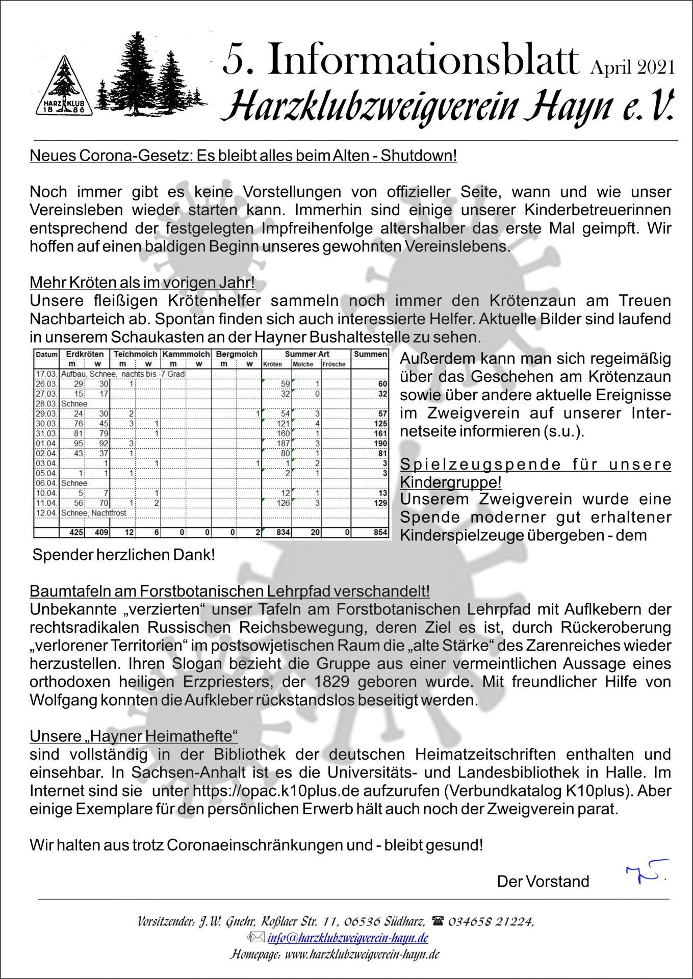 5- Coronainformationsblatt
