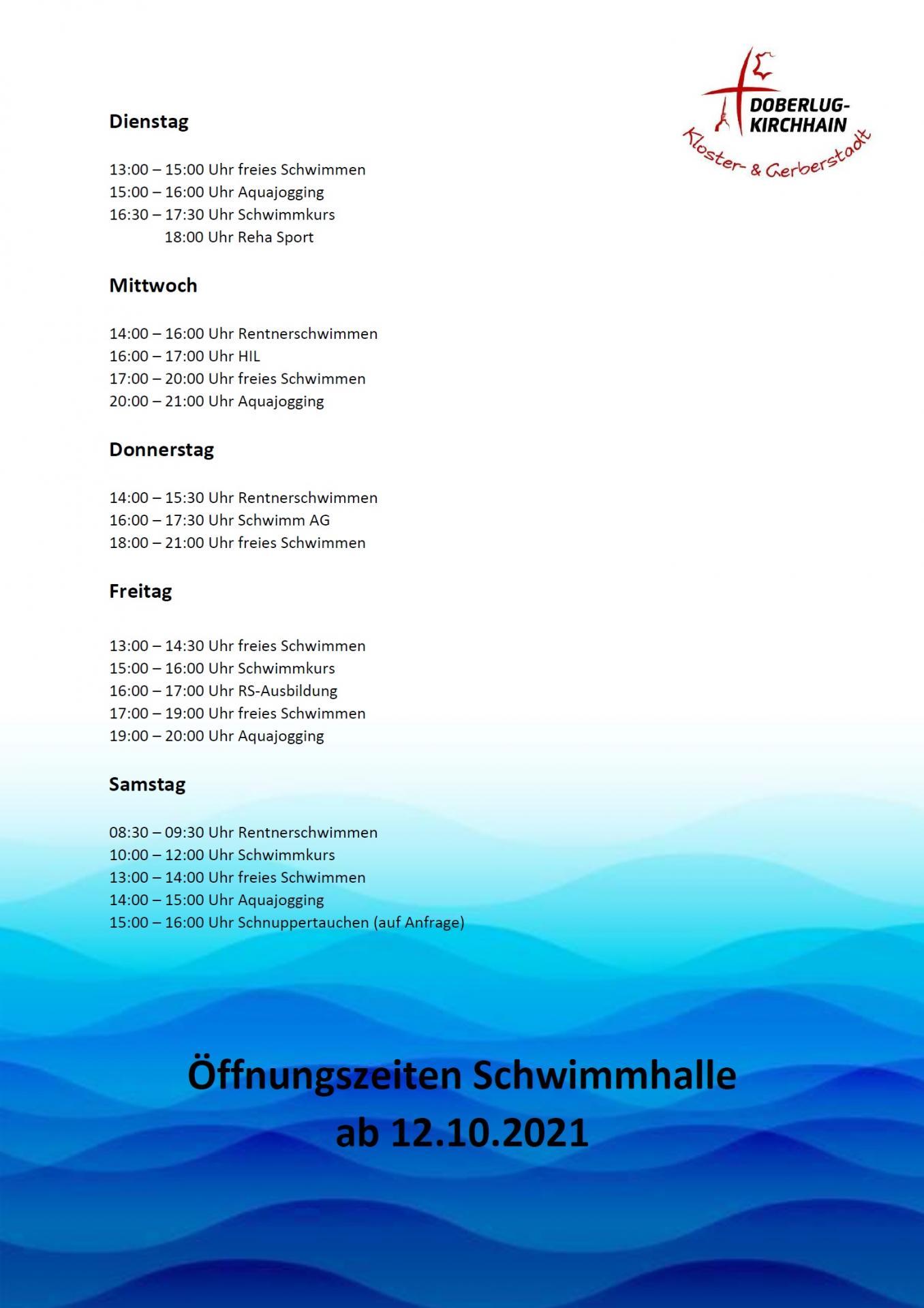 Öffnungszeiten ab 12.10.2021