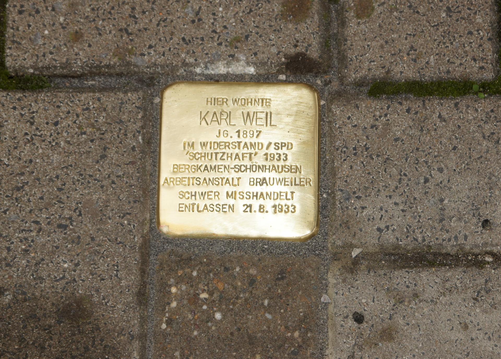 Stolperstein Karl Weil