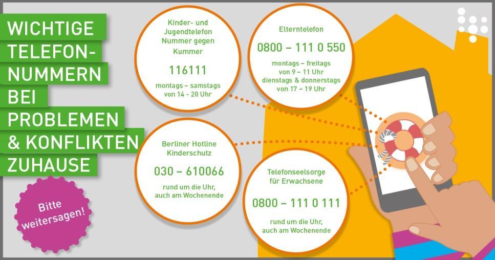 Wichtige Telefonnummern bei Konflikten zuhause
