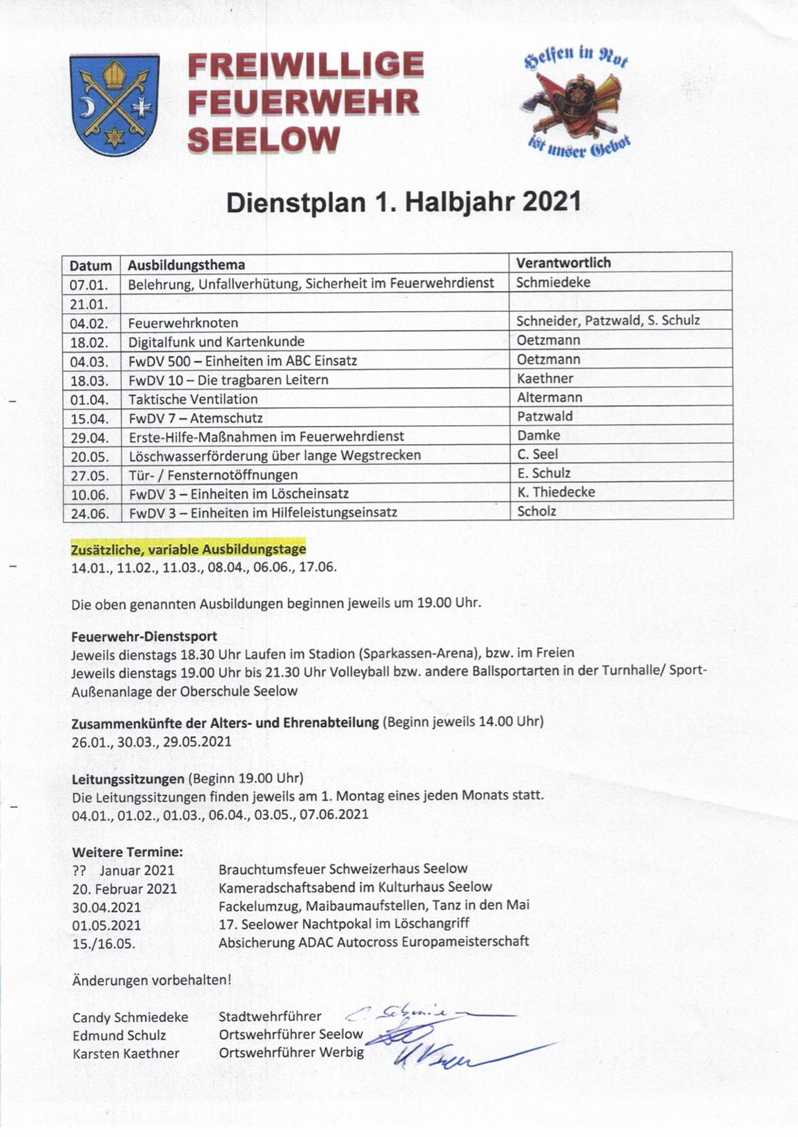 Dienstplan 1. Halbjahr 2021