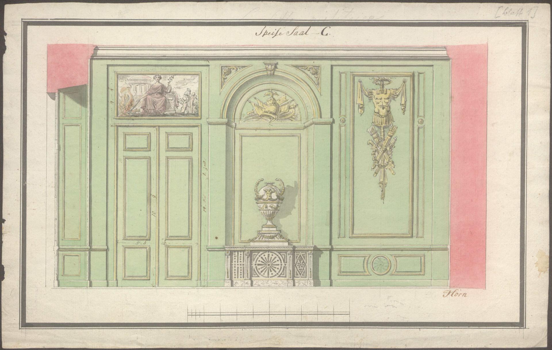 Carl Gottlob Horn: Wandaufrisse für das Tafelzimmer, Wandsbek, 1776 (Staatsarchiv Hamburg, 720-1/152-01=07_635.001)
