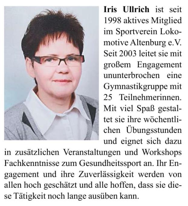 Hohe Würdigung für Iris Ullrich