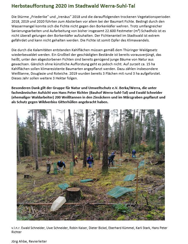 Herbstaufforstung 2020 im Stadtwald WST