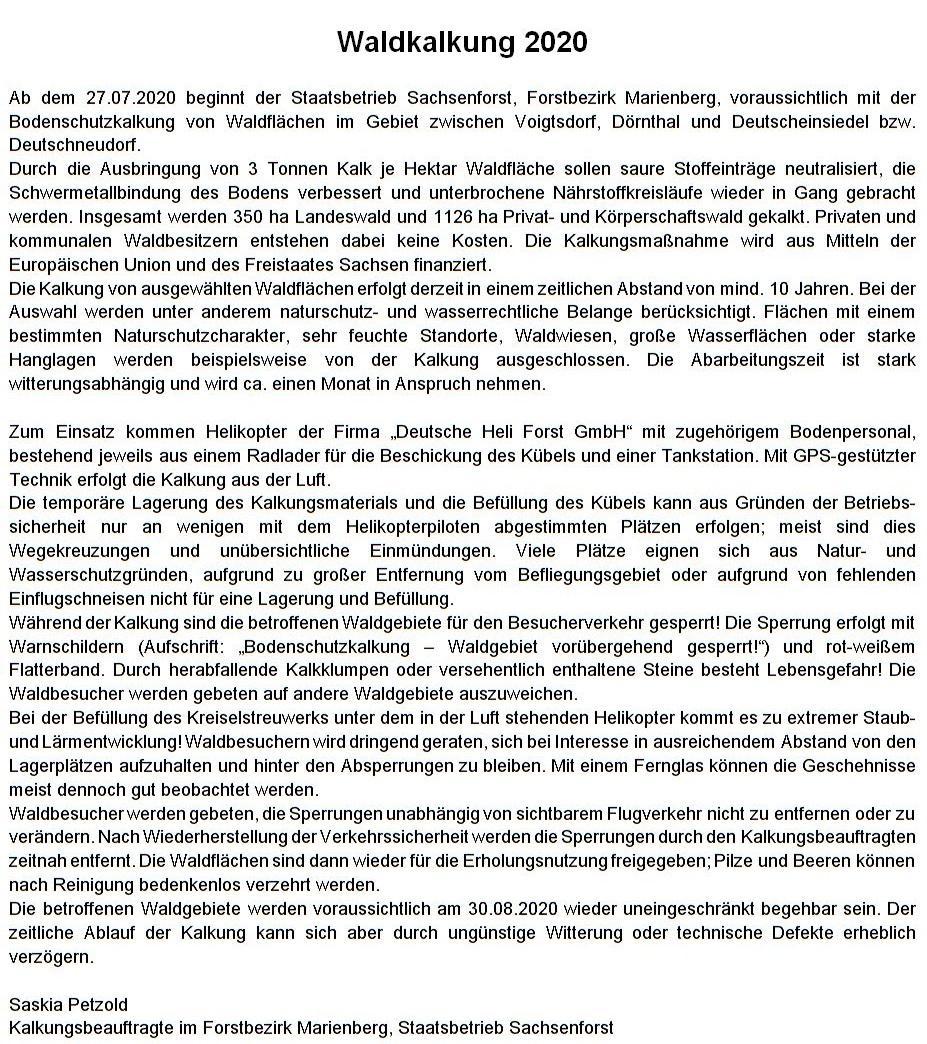 Information zur Bodenkalkung 2020