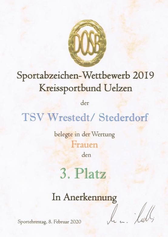 Sportabzeichenurkunde 2019_Frauen