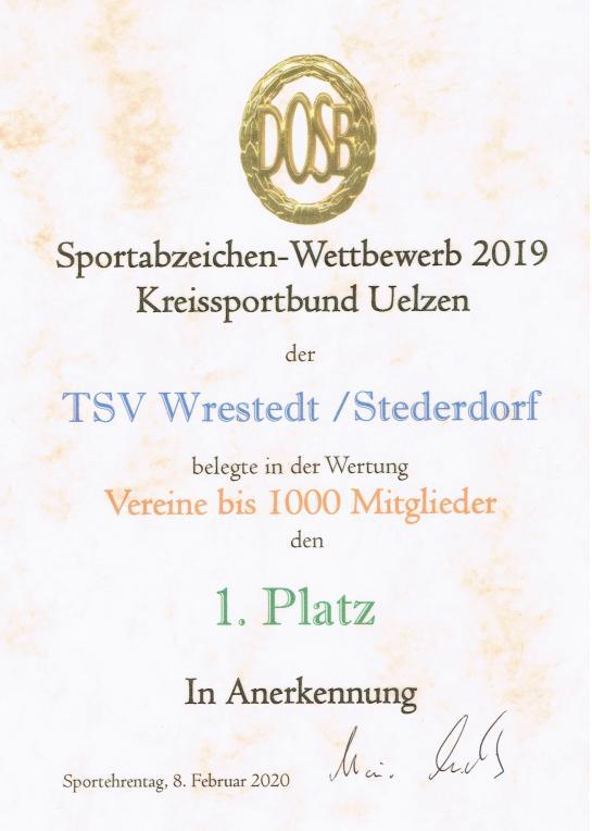 Sportabzeichenurkunde 2019_Vereine