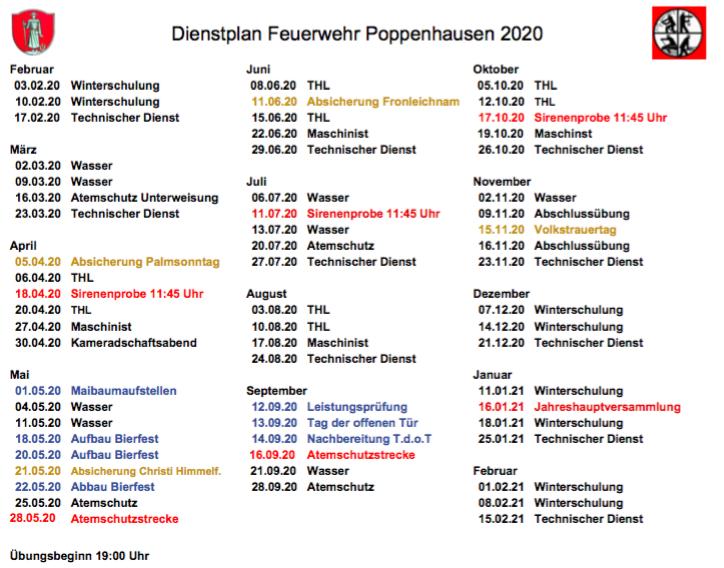 Dienstplan 2020