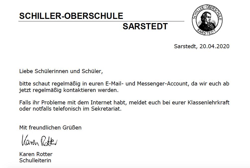 Information von Frau Rotter