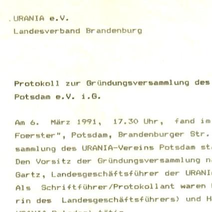 Aus dem URANIA-Archiv: Das Gründungsprotokoll von 1991