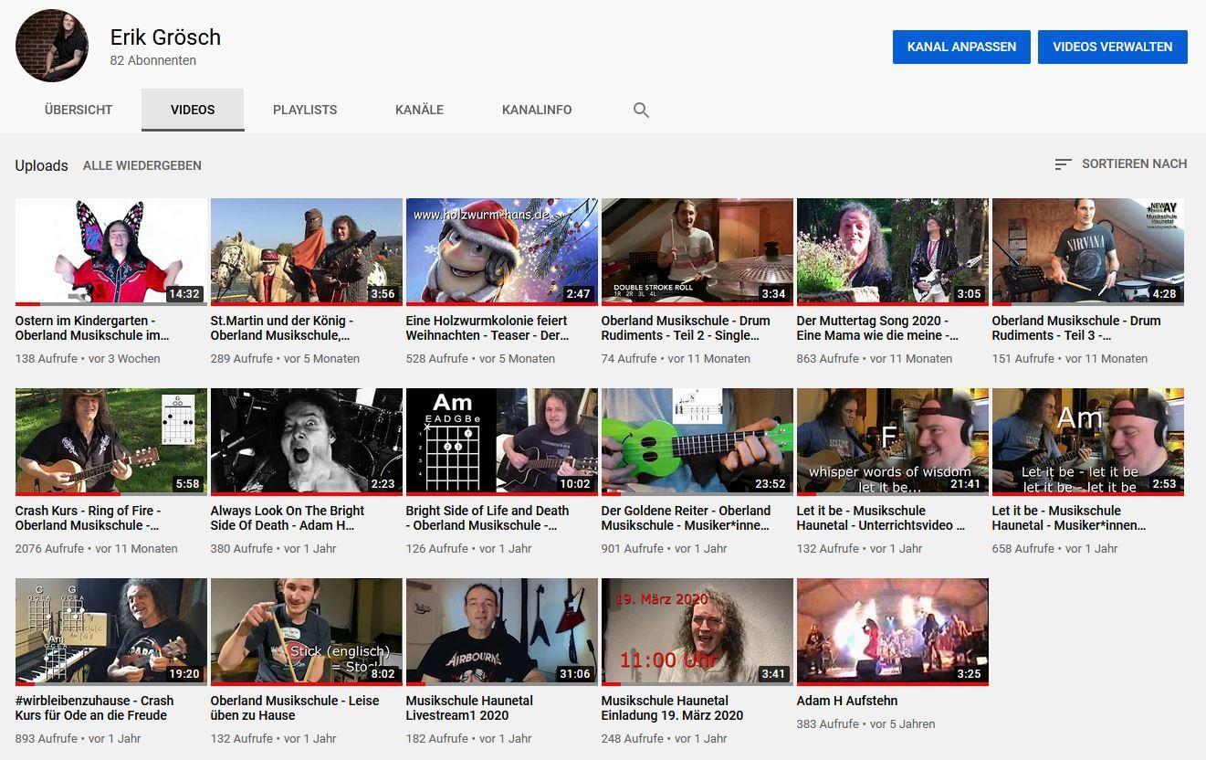 YouTube Kanal von Erik
