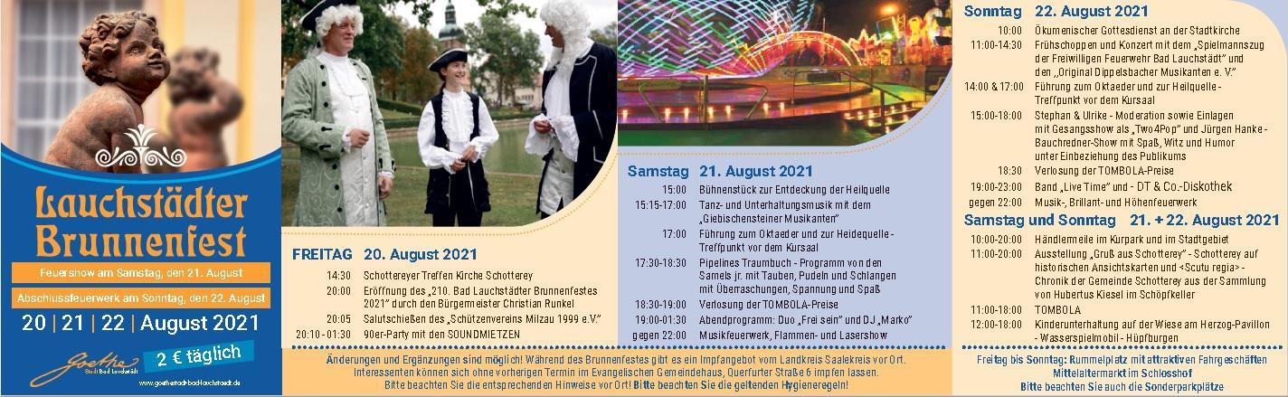 Programm 210. Lauchstädter Brunnenfest 2021