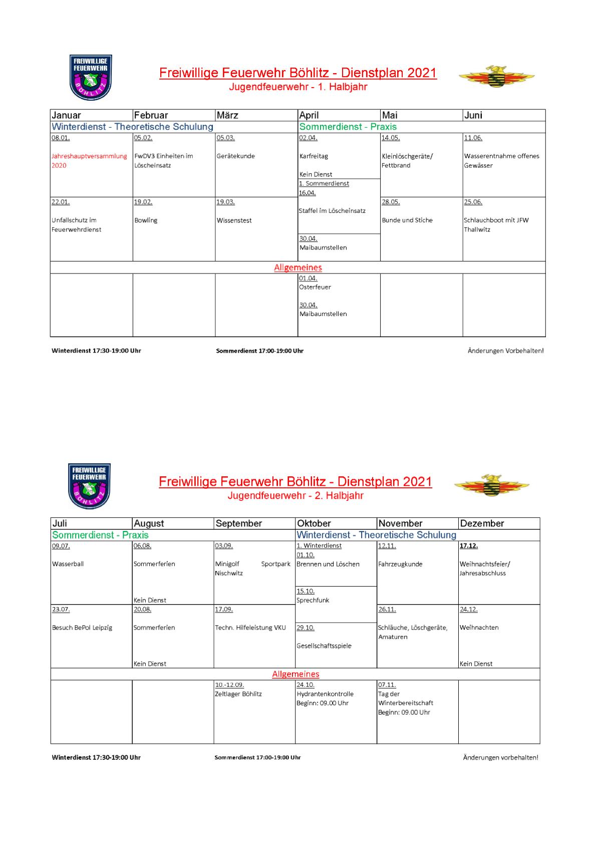 Dienstplan 21 JFW