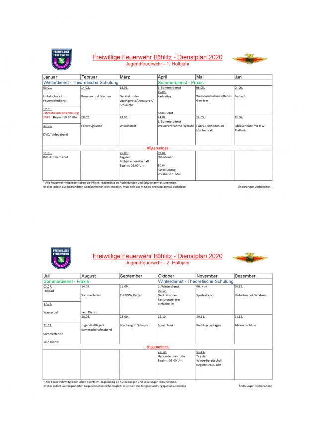 Dienstplan JFW