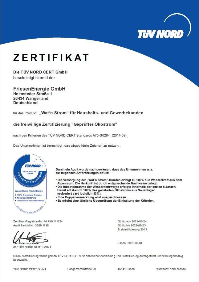 Zertifikat TÜV NORD 2021-2022