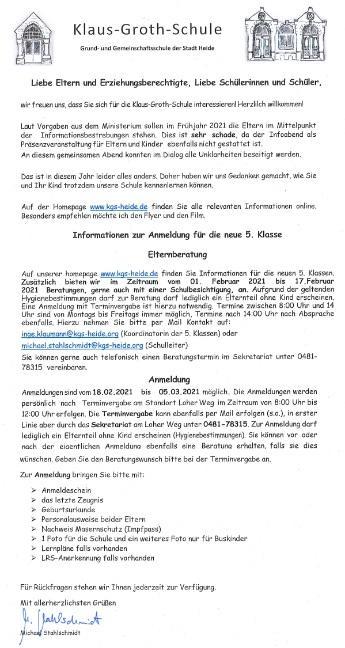 Info-Brief Klasse 5
