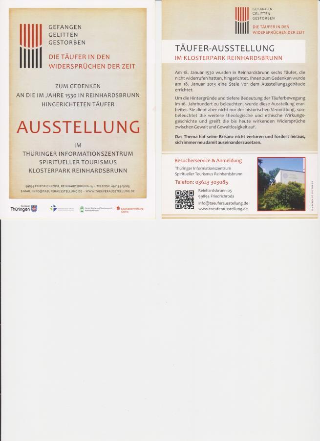 Täuferausstellung Reinhardsbrunn