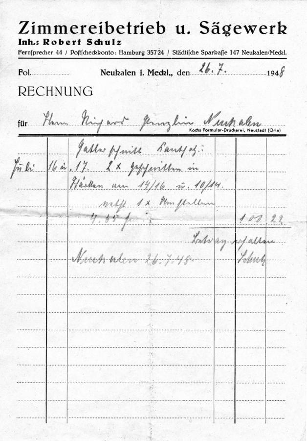 Rechnung vom 26.7.1948