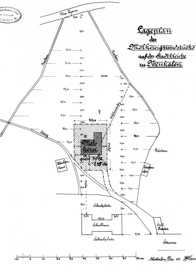 Lageplan des Molkereigrundstücks auf der Stadtbleiche zu Neukalen, 1904 (mit eingezeichnetem Töpferofen)