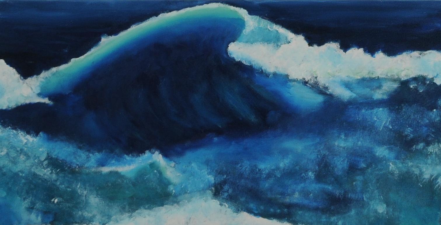 Wasserbild Blaue Welle
