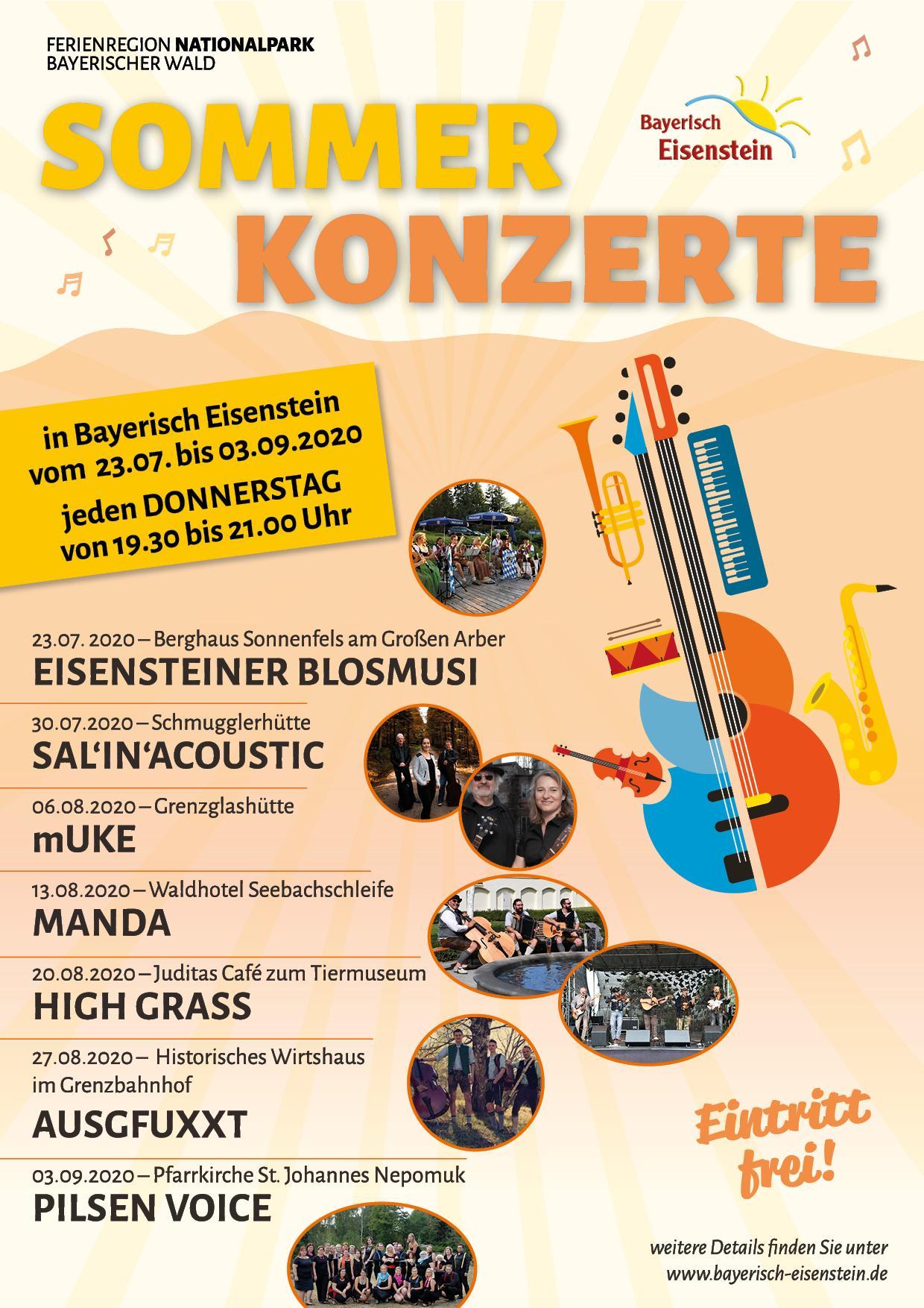 Plakat Eisensteiner Sommerkonzerte 2020