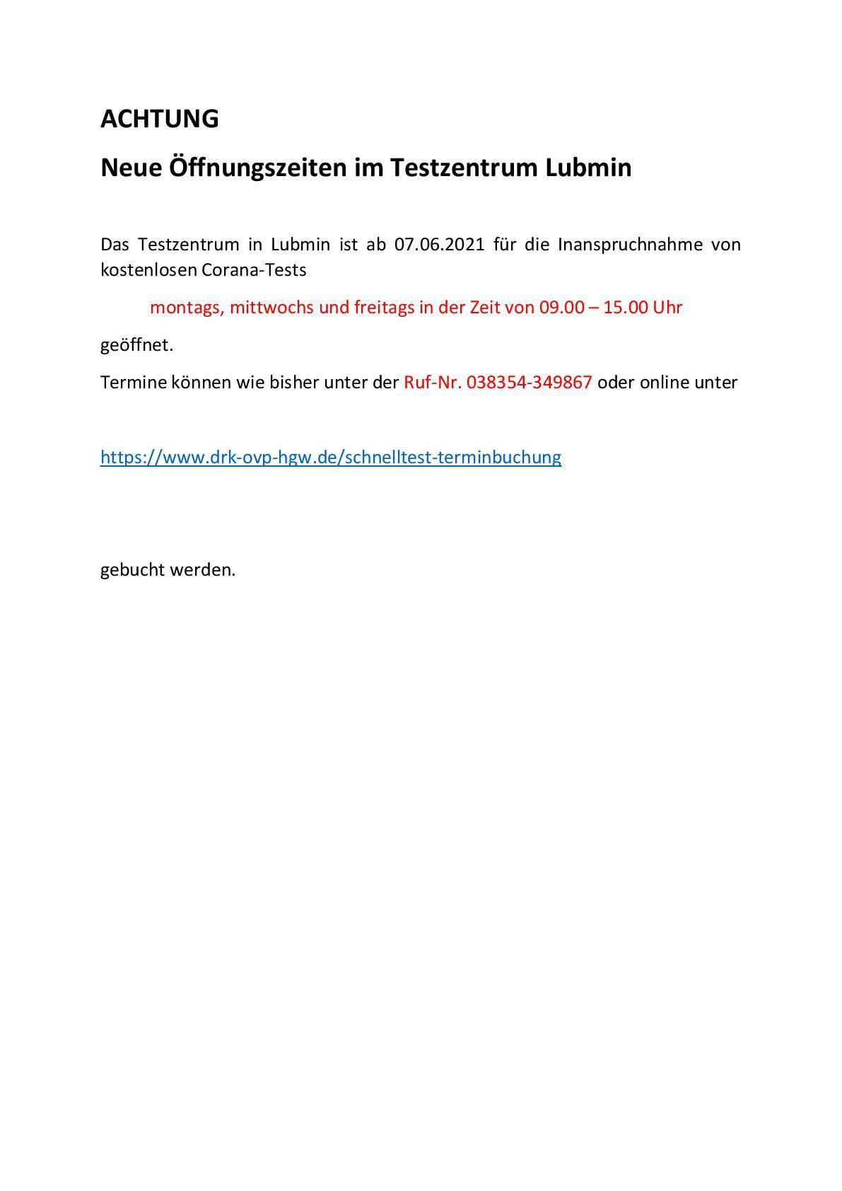 02.06.2021 neue Öffnungszeiten Testzentrum Lubmin ACHTUNG -001.jpg
