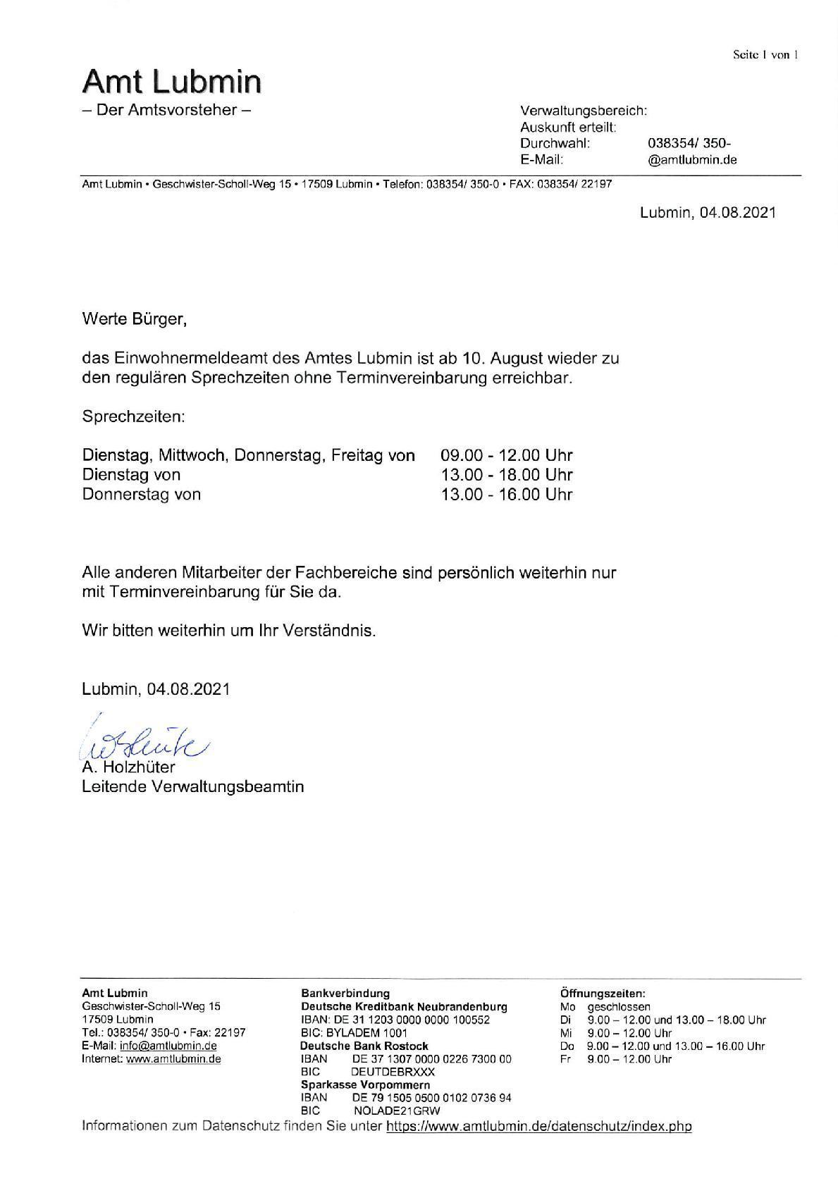 Aushang Internetseite Öffnungszeiten Einwohnermeldeamt-001