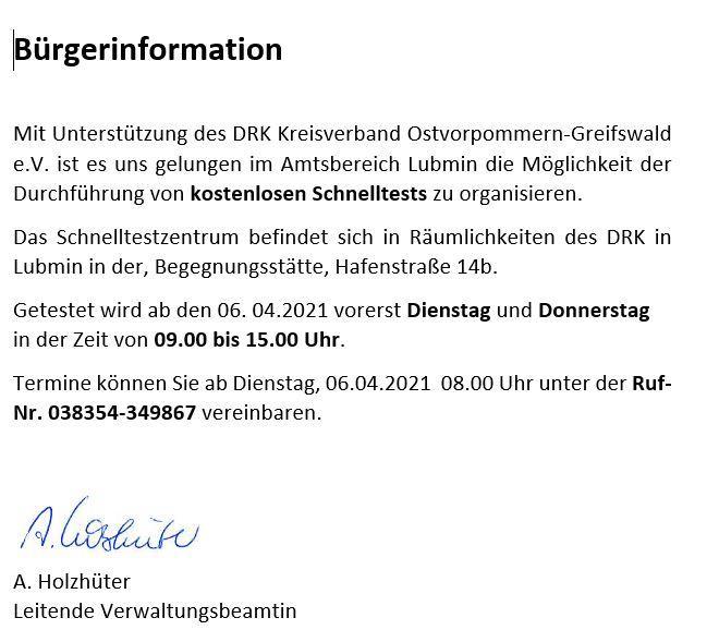 Bürgerinformation Schnelltestzentrum -2