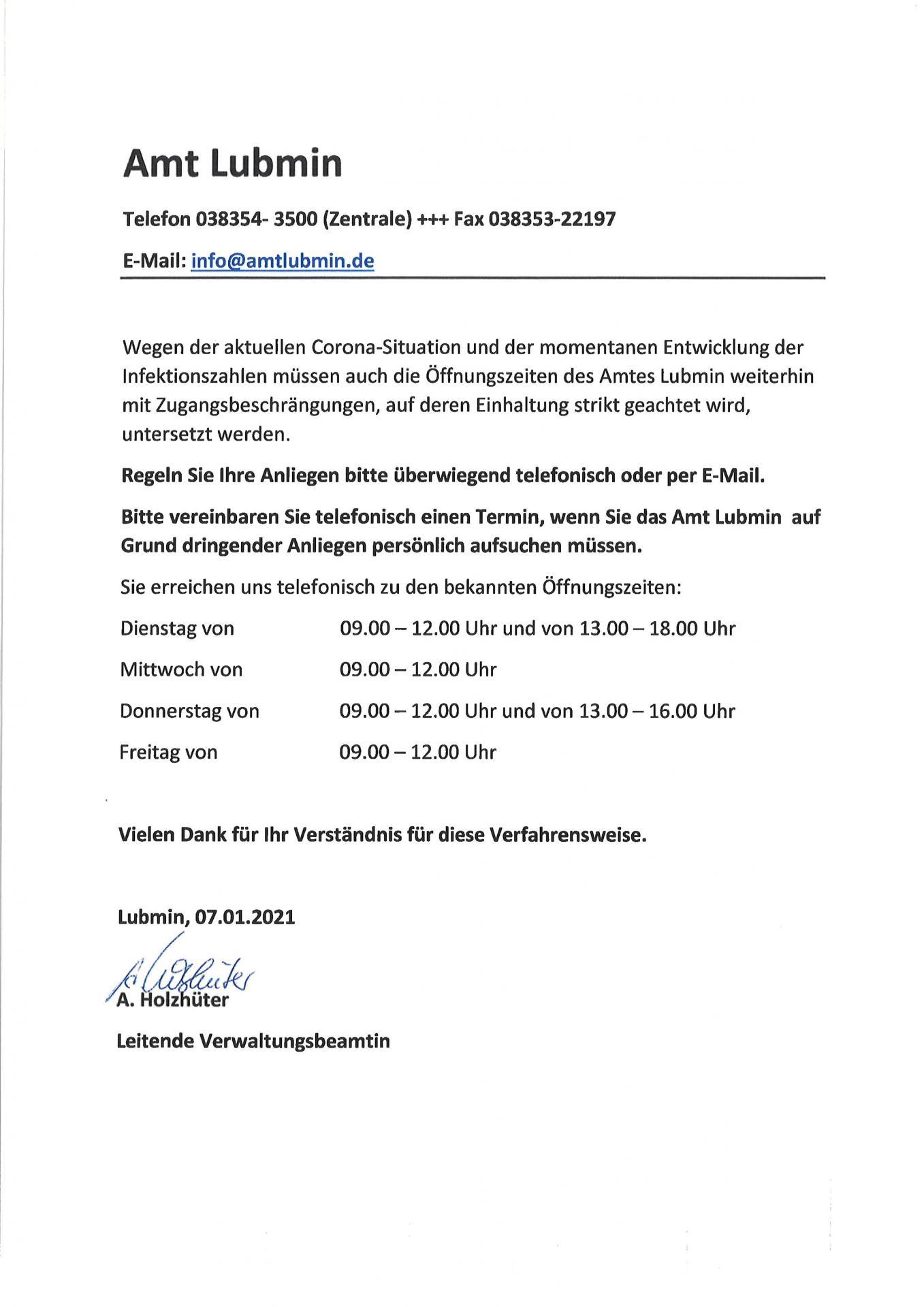 Öffnungszeiten Amt Lubmin 07.01.2021