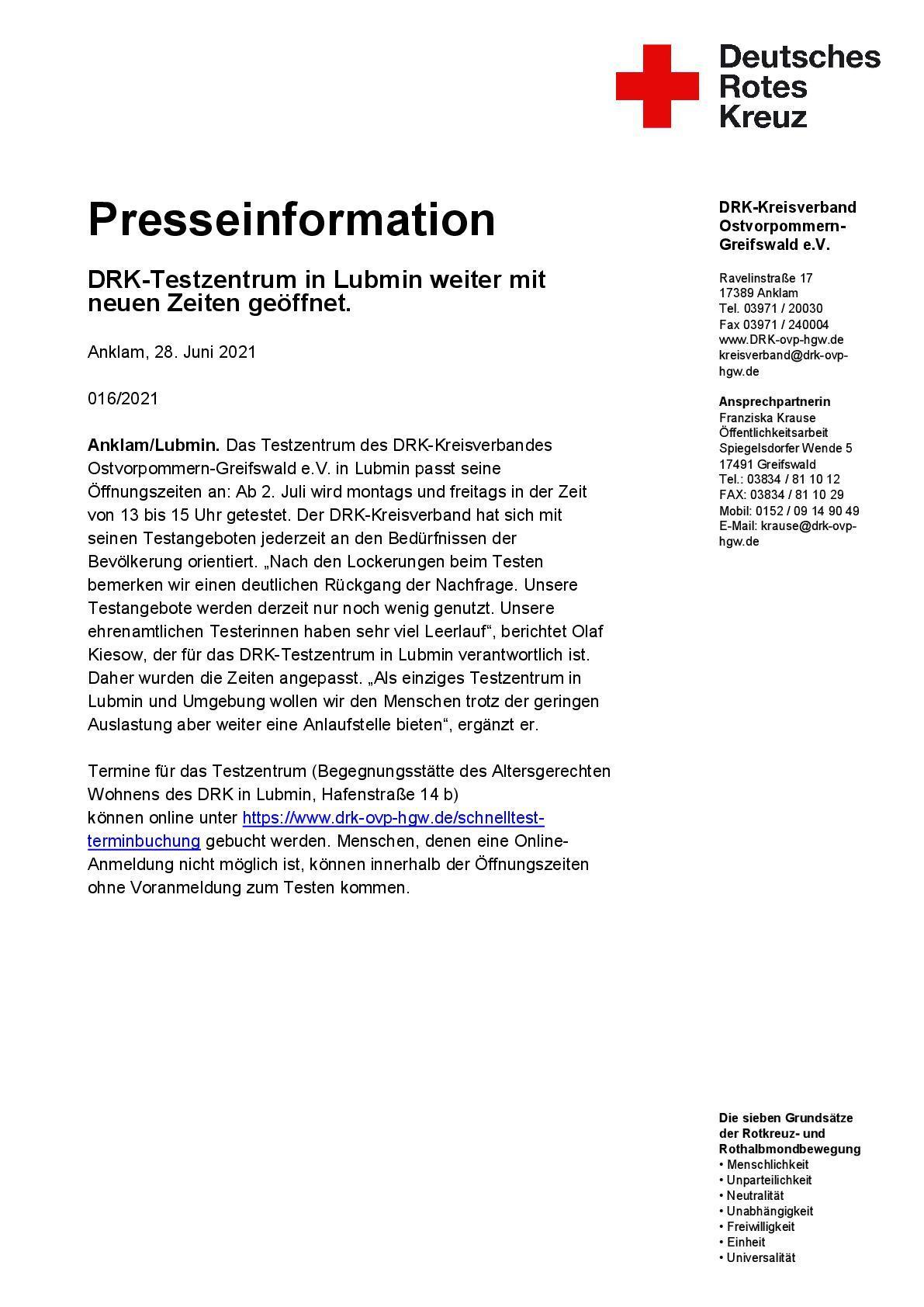 Presseinformation DRK - Testzentrum in Lubmin weiter mit neuen Zeiten geöffnet