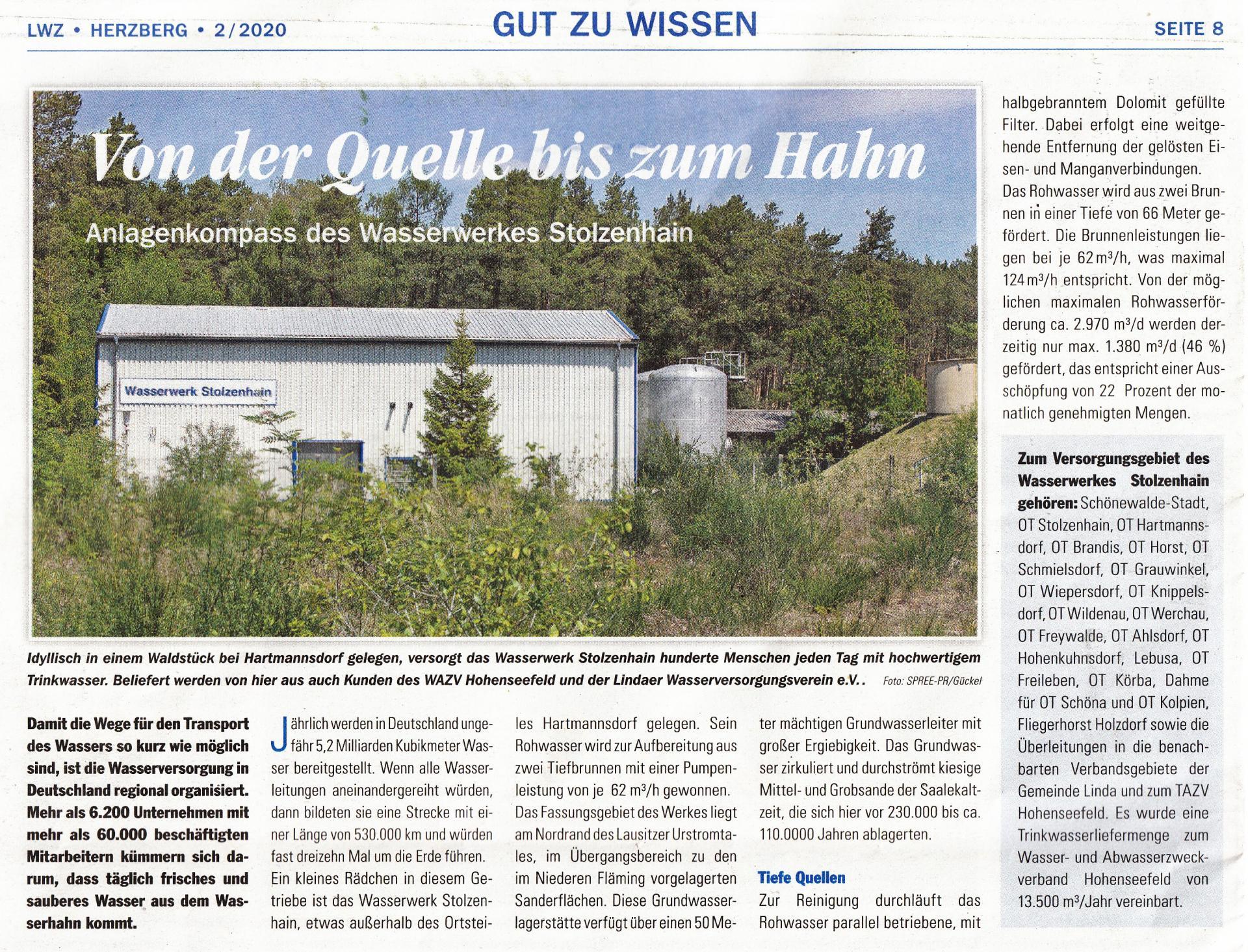 Artikel aus der Lausitzer Wasserzeitung